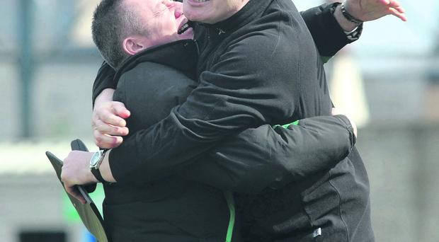 Glens boss Eddie Patterson and assistant Paul Trainor hail the final whistle