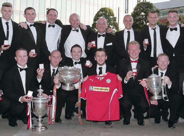 Cliftonville players picked up their Premiership medals during a weekend gala dinner at the Hilton Hotel