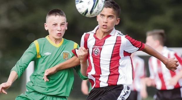 Donegal's Corey Lee Bogan and Sheffield Utd's Harley Brown.