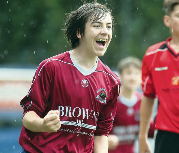 Institute hat-trick hero Tyler Deighan celebrates his opener in the U14 quarter-final 3-2 victory over Ballymoor.