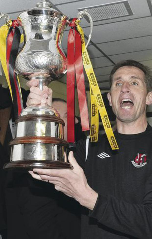 Proudest moment: Stephen Baxter lifts the Setanta cup