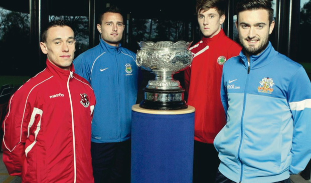 Cup kings: (from left) Crusaders' Paul Heatley, Linfield keeper Jonny Tuffey, Cliftonville's Paddy McNally and Glenavon striker Mark Patton are going for League Cup glory