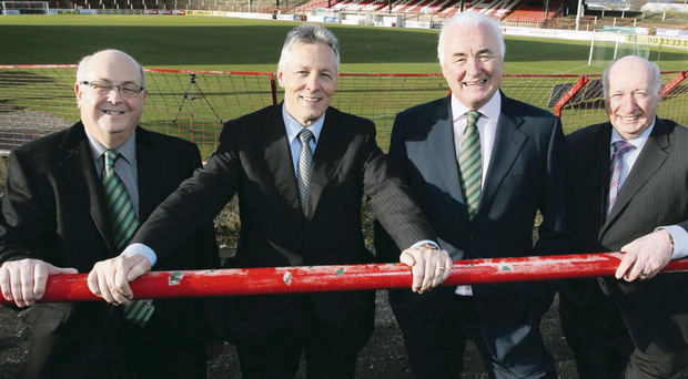 United front: Glentoran vice-chairman Aubry Ralph, First Minister Peter Robinson, Glentoran chairman Terrence Brannigan and MLA Robin Newton pictured at the Oval