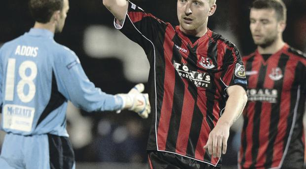 Crusaders midfielder Chris Morrow fires Crusaders into the County Antrim Shield final