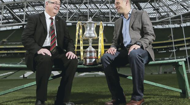 We'll meet again: Glentoran director Aubry Ralph and Shamrock Rovers boss Trevor Croly at yesterday's Setanta Sports Cup draw