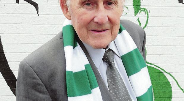 Jimmy Jones pictured after unveiling a mural to the Belfast Celtic Legends of the Falls road in Belfast.