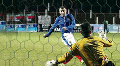 Spot prize: thrills were thin on the ground as Matthew Tipton's penalty winner for Linfield settled the Big Two derby