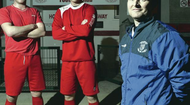 Cup fever: Ballyclare Comrades boss Eddie Hill (front), Denver Gage and Chris Getty are ready for Crusaders battle