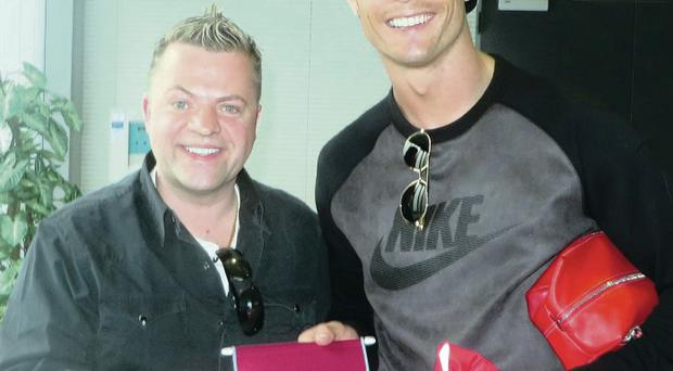 The Real thing: Keith Norris from Greenisland Boys with Cristiano Ronaldo, who will meet players from the club in Madrid