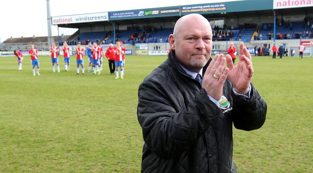 @Press Eye Ltd Northern Ireland- 26th April 2014 Mandatory Credit -Brian Little/Presseye Linfield manager David Jeffrey after his final match as Blues Manager against Glenavon during Saturday's Danske Bank Premiership match at Mourneview Park. Picture by Brian Little/Presseye