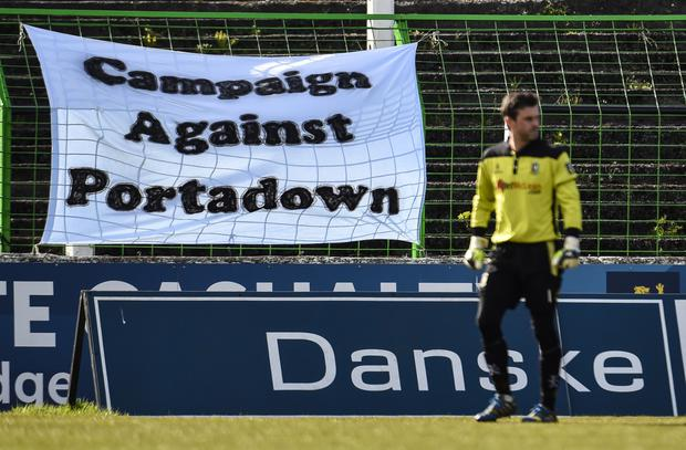 Clear message: Portadown fans unfurled this banner during their Premiership clash against Glentoran at the Oval