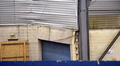 Going down: Windsor Park's Kop Stand will have to be demolished after suffering significant damage