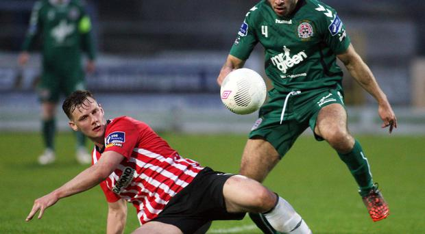 Highs and lows: Derry City's Seanan Clucas battles with Bohemians' Roberto Lopes