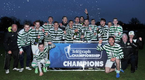 We are the champions: Lurgan Celtic celebrate title success after beating Sport & Leisure Swifts 5-0