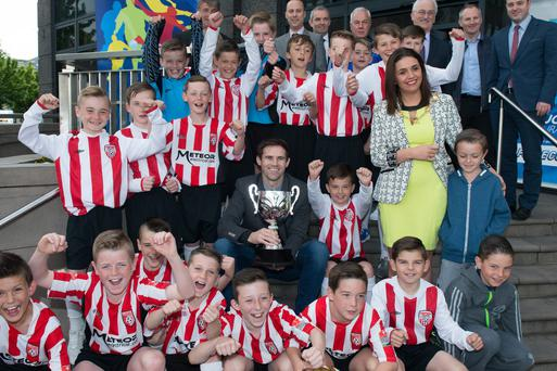 Up for the Cup: Kevin Kilbane with Derry City youth players at the Foyle Cup launch