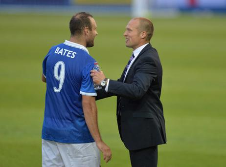 Money well spent: Warren Feeney congratulates new signing Guy Bates after his goal in the first leg against NSI Runavik