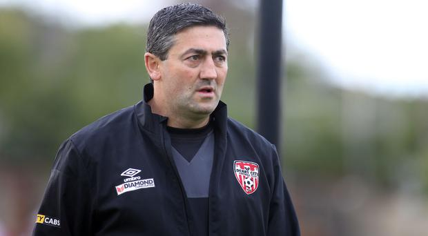 Under fire: Peter Hutton is fighting to stay as Derry boss