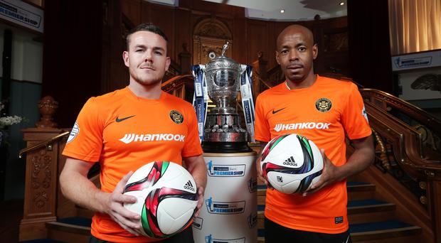 Suspended: Carrick Rangers' Aaron Harmon and Miguel Chines along with Andrew Doyle will miss the clash with Portadown