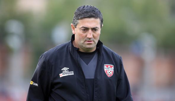 Red alert: Peter Hutton's Derry City side struggled with 10 men for the second game in succession