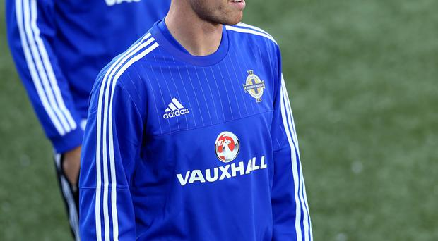Northern Ireland's Jonny Evans during Thursday nights training session at the Torsvollur stadium in Torshavn ahead of Friday nights UEFA EURO 2016 Qualifier against the Faroe Islands.