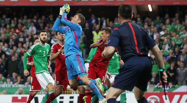 Clanger: Michael McGovern lets the ball slip through his hands, allowing Hungary to score at Windsor Park last month