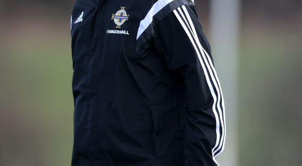 23 March 2015 - Picture by Darren Kidd / Press Eye VAUXHALL INTERNATIONAL CHALLENGE MATCH SCOTLAND v NORTHERN IRELAND. Northern Ireland Assistant Manager Jimmy Nicholl during training at the Hibernian Training Centre East Mains.
