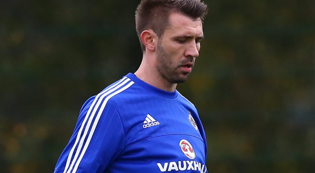 Press Eye - Belfast - Northern Ireland - 10th November 2015 - Photo by William Cherry Northern Ireland's Gareth McAuley during Tuesdays training session at Queens playing fields ahead of Friday nights International Friendly against Latvia.