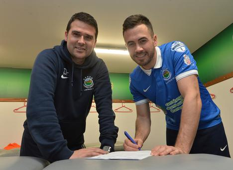 Linfield manager David Healy unveils new signing Ross Gaynor.