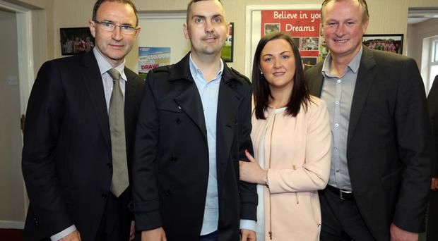 Tribute: Republic of Ireland manager Martin O'Neill and Northern Ireland manager Michael O'Neill with Mark Farren and his wife Terri-Louise