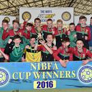 Teenage dreams: the under-15s from Glentoran enjoy their win over Crusaders in the NIBFA Cup final