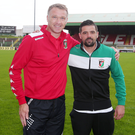 Sign here: Nacho Novo (right) with Glentoran boss Alan Kernaghan at the Oval after putting pen to paper