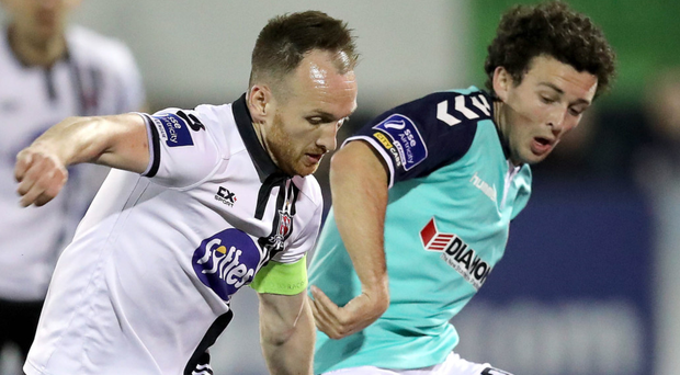 Man on: Dundalk's Stephen O'Donnell is closed down by Barry McNamee