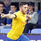 On target: Cathair Friel bagged his 15th goal of the season for Ballymena