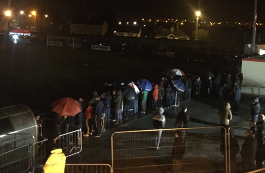 Black night: Derry City's first game at Maginn Park in Buncrana had to be abandoned because of floodlight failure