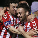 Net gains: Barry McNamee celebrates with Nathan Boyle