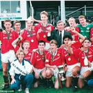 Rising stars: Manchester United's glory boys of the early 1990s including Chris Casper, Nicky Butt, Robbie Savage, George Switzer, Johnny Pollock, Gary Neville, Paul Scholes, Keith Gillespie, John O'Kane, Colin McKee and Ben Thornley