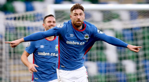 Title talk: Mark Stafford's goal against Coleraine kept the title hopes of Linfield and David Healy alive
