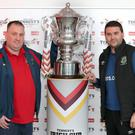 Cup rivals: Glebe manager Jason Wilmont and Linfield boss David Healy at yesterday's draw