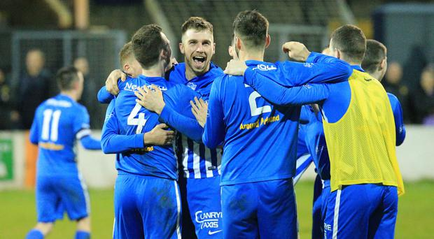 We're there: Newry celebrate promotion to top flight last night