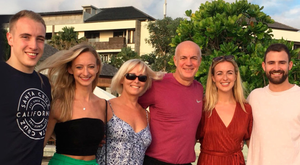 Family reunion: Lee Doherty in Bali this week with Zach, Jenna, wife Sharon, Jodi and Andy