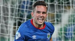 Big Two delight: Andrew Waterworth after his goal to win Tuesday's County Antrim Shield semi-final tie between Linfield and Glentoran.