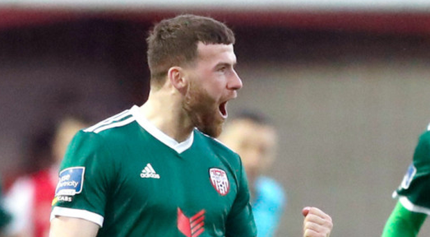 First blood: Derry City ace Patrick McClean celebrates hitting the opener against St Pat's at Richmond Park