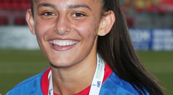 Finisher: Louise McDaniel netted Linfield's opener