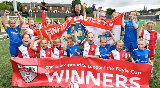 Linfield Ladies 'A' and 'B' teams celebrate winning the Girls Under-11 Foyle Cup