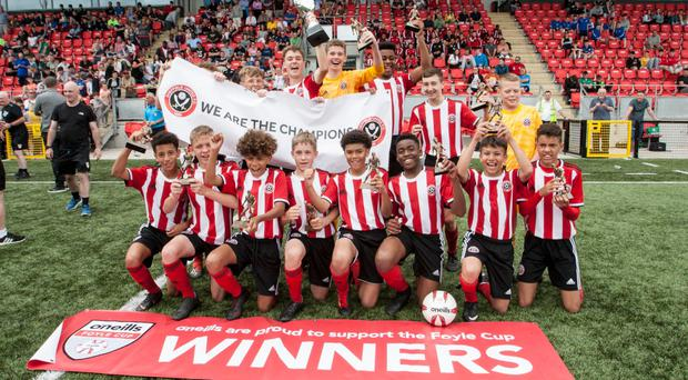 Future stars: Sheffield United celebrate after overcoming Wolves in the Under-14 final