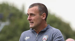 On hand: Coleraine boss Oran Kearney makes his point