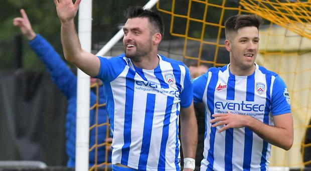 Up and running: Eoin Bradley opens the scoring for Coleraine against Carrick Rangers on Saturday