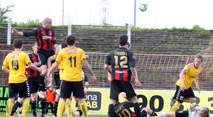 On target: Colin Coates scores in the 2012 Setanta Cup final against Derry City