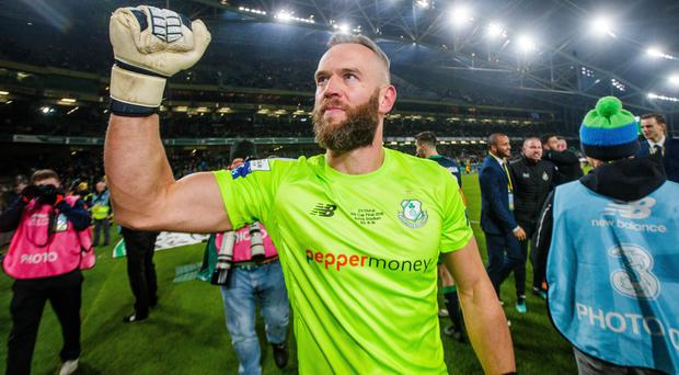 Winning feeling: Alan Mannus celebrates FAI Cup final joy, nine years after being on the losing side