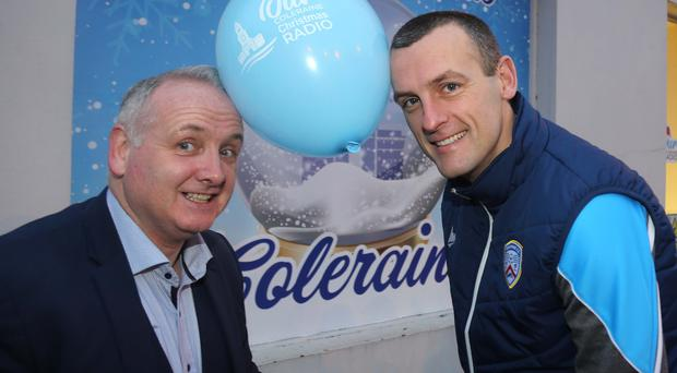 Back on song: Oran Kearney popped in to help launch 'Our Coleraine Radio Station' with Jamie Hamill, Coleraine Business Improvement District Manager